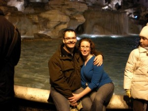 Orin and Erin, New Years Day night, visit the exact spot they got engaged at the Trevi Fountain, exactly 5 years and 6 months later.