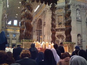 New Years Day, Mass for the feast of Mary, Mother of God.  This pic shows the elevation of the host by B16.