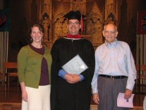 "Orin graduates from Aquinas Institute of Theology, pictured with Erin and his Dad, ""Doc"""