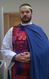 Orin prepares to portray Pontius Pilate at the Shrine's Good Friday Stations of the Cross