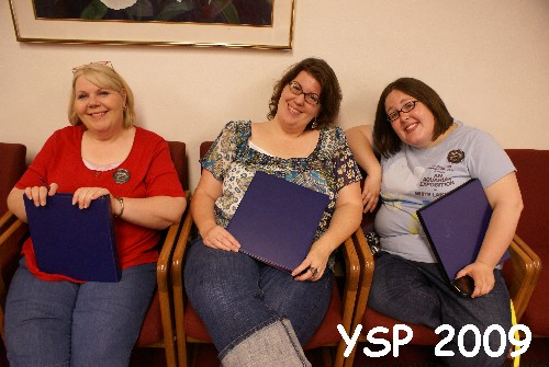YSP Staff veterans Cindy Graham (left) and Melissa Cuddy (right) make newcomer, Anne Marie Cribbin feel welcome.